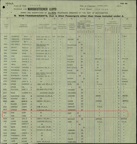 Henry Ford ship passenger list